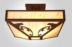 Bavarian Bear 4-Light Post Drop Semi Flush Mount Finish: Architectural Bronze, Shade Color: Amber Mica