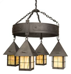 Lapaz 4-Light Shaded Chandelier Finish: Old Iron, Shade / Lens: Bungalow Green