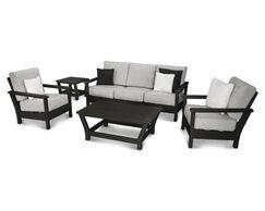 Harbour 5 Piece Sunbrella Sofa Set with Cushions Color: Black / Canvas Granite