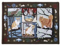 PB Paws & Co. Woodland Cat Days Tapestry Area Rug Rug Size: Rectangle 1'1