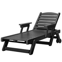 Herrman Wheeled Chaise Lounge Color: Black