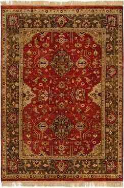 Dammam Hand-Knotted Red/Brown Area Rug Rug Size: 6' x 9'