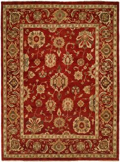 Ushuaia Hand-Knotted Red/Beige Area Rug Rug Size: Square 8'