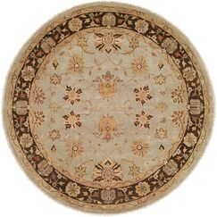 Chongqing Hand-Knotted Light Blue/Brown Area Rug Rug Size: Round 8'