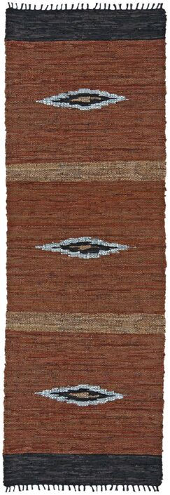 Matador Diamonds Leather Chindi Brown Area Rug Rug Size: Runner 2'5