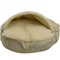 Premium Cozy Cave Hooded Dog Bed Color: Palmer Citron, Size: Large (35