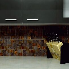 Eden Random Sized Glass and Stone Mosaic Tile in Walnut