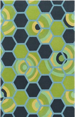 Kismet Honeycomb Hand-Tufted Green/Blue Area Rug Rug Size: Rectangle 2' x 3'