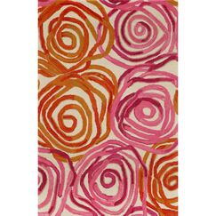 Terrill Rose Sunset Orange/Pink Area Rug Rug Size: 3'6