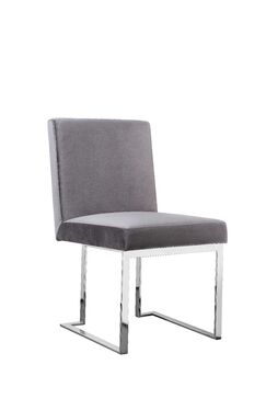 Espinoza Side Chair Leg Color: Silver, Upholstery Color: Velvet Gray