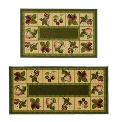 Fruit 2 Piece Green Novelty Rug Set
