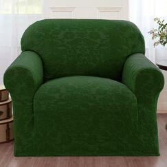 Damask Box Cushion Armchair Slipcover Color: Hunter
