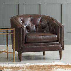 Bedford Barrel Chair Body Fabric: Steamboat Chestnut, Leg Finish: French Oak