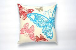 Butterfly Rabble Cotton Pillow Cover Color: Turquoise