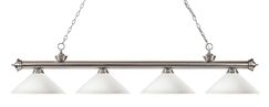 Zephyr 4-Light Cone Shade Kitchen Island Pendant Shade Color: Matte Opal, Finish: Brushed Nickel