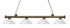 Zephyr 4-Light Bowl Shade Kitchen Island Pendant Shade Color: Matte Opal, Finish: Antique Brass