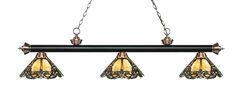 Zephyr Traditional 3-Light Glass Shade Billiard Light Finish: Matte Black / Antique Copper