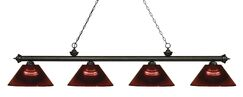 Zephyr 4-Light Adjustable Billiard Light Shade Color: Burgundy, Finish: Golden Bronze