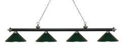 Zephyr 4-Light Cone Metal Shade Billiard Light Shade Color: Dark Green, Finish: Matte Black / Brushed Nickel