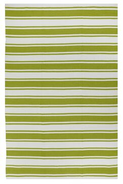 Sage Green/White Striped Indoor/Outdoor Area Rug Rug Size: 4' x 6'