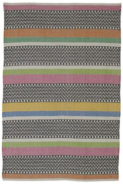 Zen Maya Hand Woven Cotton Black/Pink/Green Area Rug Rug Size: 5' x 8'