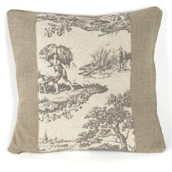 French Inspired Toile Linen Throw Pillow