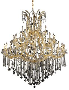Regina Traditional 49-Light Up Lighting Candle Style Chandelier Finish / Crystal Finish / Crystal Trim: Gold / Crystal (Clear) / Strass Swarovski