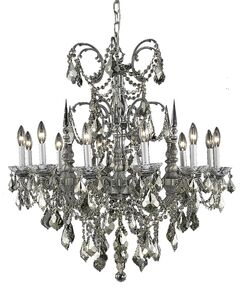 Cherie 12-Light Candle Style Chandelier Finish / Crystal Finish / Crystal Trim: French Gold / Golden Teak (Smoky) / Royal Cut