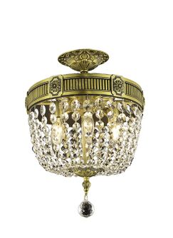 Ursula 3-Light Ceiling or Semi Flush Mount Color: Antique Bronze, Crystal Grade: Spectra Swarovski