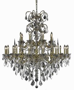 Cherie 24-Light Traditional Candle Style Chandelier Finish / Crystal Finish / Crystal Trim: Pewter / Golden Teak (Smoky) / Royal Cut
