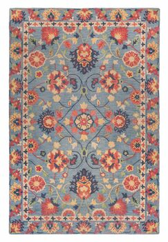Williamsburg Hand-Turfted Wool/Silk Blue Area Rug Size: Runner 2'3