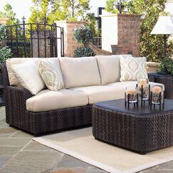 Aruba Patio Sofa with Cushions Fabric: Sunbrella Sailcloth Sand