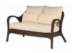 Bali Loveseat with Cushions Fabric: Sunbrella Carnegie Willow