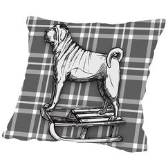 Pug on Sled with BW Throw Pillow Size: 20