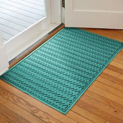 Harding Chevron Doormat Rug Size: 2' x 3', Color: Aquamarine