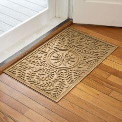 Aqua Shield Boxwood Flower Doormat Color: Gold