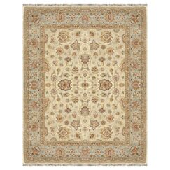 Durden Hand-Knotted Ivory/Blue Area Rug Rug Size: Rectangle 8'6