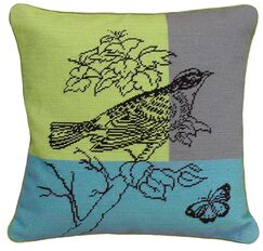 Bird Needlepoint Wool Throw Pillow