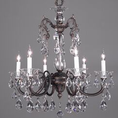 Via Lombardi 6-Light Candle Style Chandelier Finish: Champagne Pearl, Crystal Type: Swarovski Elements