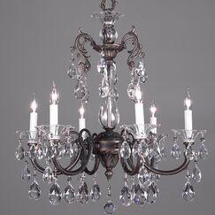 Via Lombardi 6-Light Candle Style Chandelier Crystal Type: Crystalique Black, Finish: Roman Bronze