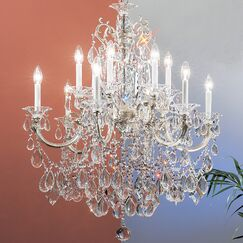 Via Venteo 12-Light Candle Style Chandelier Crystal Type: Crystalique Black, Finish: Millenium Silver