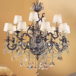 Majestic Imperial 12-Light Shaded Chandelier Crystal Type: Swarovski Elements Golden Teak, Finish: Aged Pewter