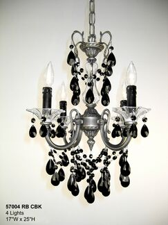 Via Venteo 4-Light Candle Style Chandelier Crystal Type: Crystalique Black, Finish: Roman Bronze