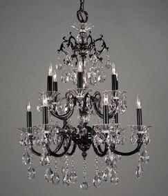 Via Lombardi 12-Light Candle Style Chandelier Crystal Type: Crystalique Black, Finish: Ebony Pearl