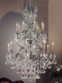 Majestic Imperial 16-Light Candle Style Chandelier Crystal Type: Swarovski Elements, Finish: Aged Pewter