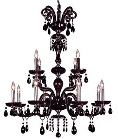 Monte Carlo 12-Light Candle Style Chandelier Crystal Type: Swarovski Elements Jet