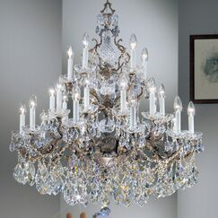 Madrid Imperial 21-Light Candle Style Chandelier Crystal Type: Crystalique, Finish: Roman Bronze