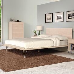 Canvas Platform Bed Color: Natural Maple, Size: California King, Leg Material: Wood