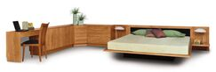 Moduluxe Upholstered Platform Bed Size: Queen, Headboard Color: White, Frame Color: Saddle Cherry