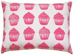 Cupcake All Over Pattern Block Print Accent Cotton Throw Pillow